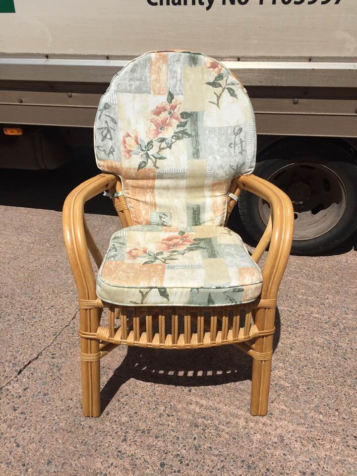 Upholstered bamboo conservatory style chair