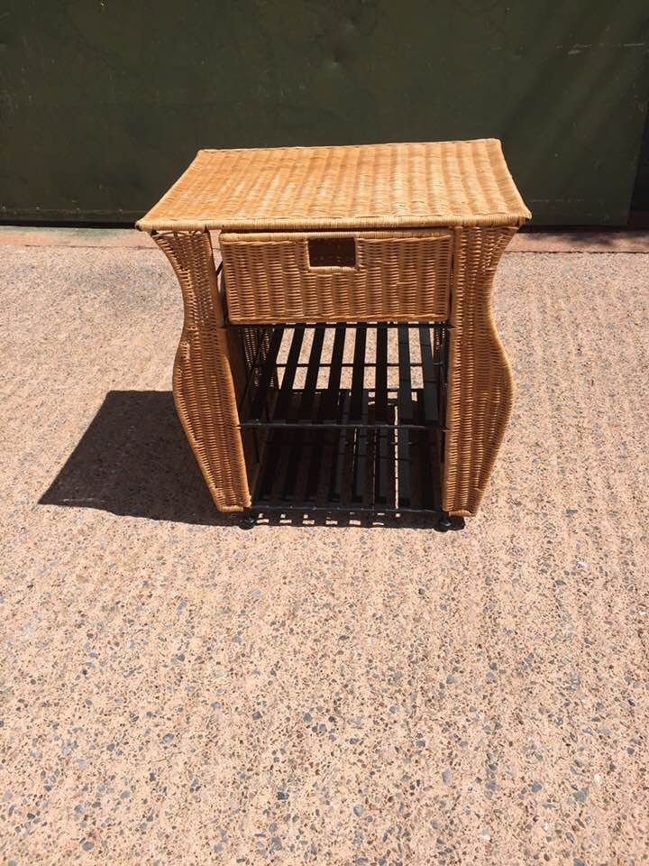 Small wicker side table / magazine rack with drawer