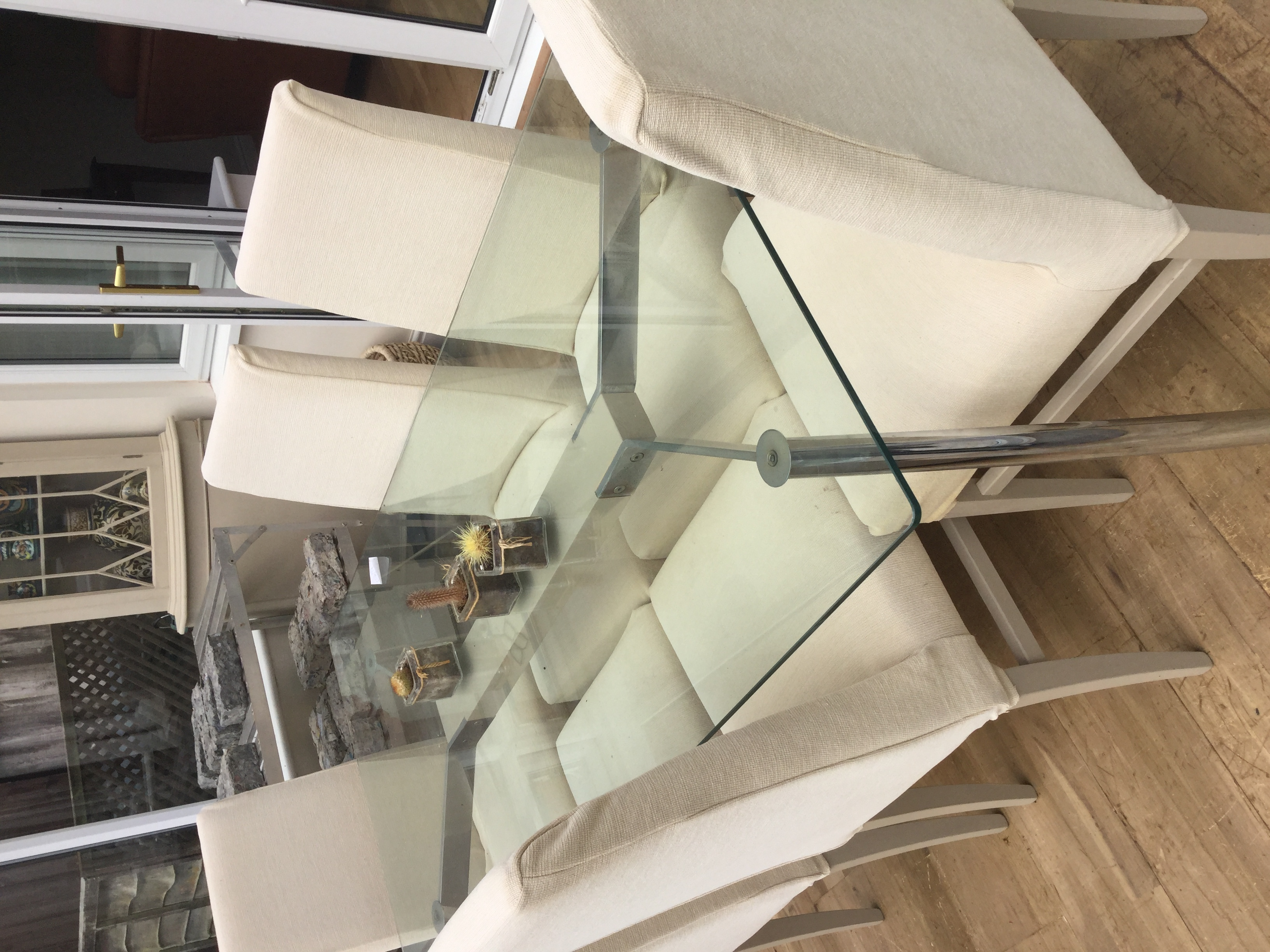 John Lewis glass top rectangular dining table and six dining chairs