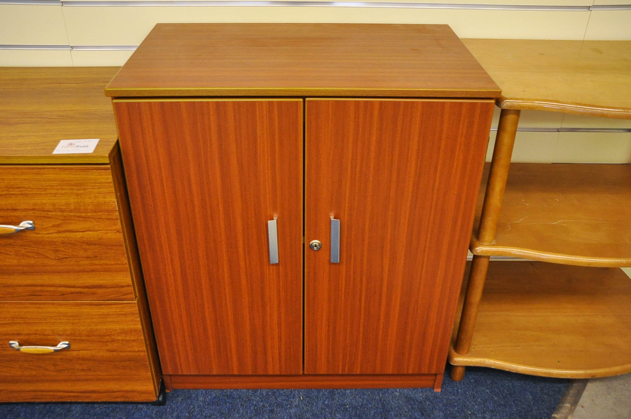 Office style 2 door Cabinet with internal shelf. No key.