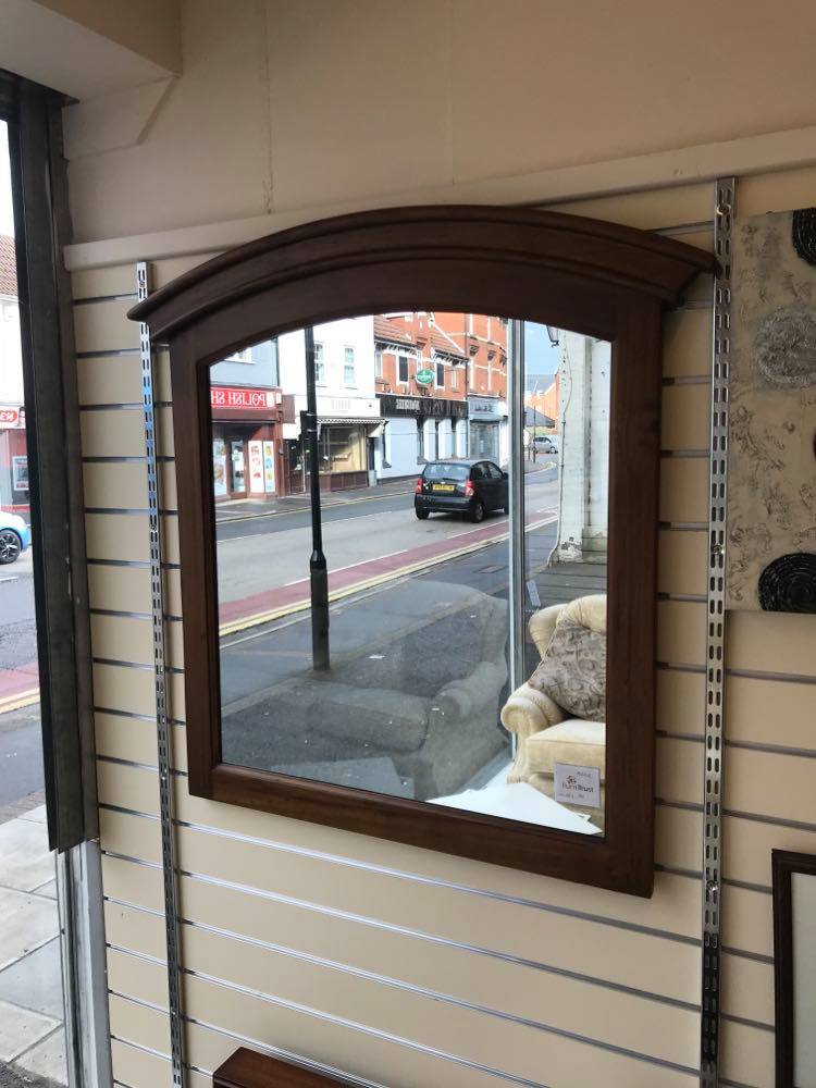 Large arch top mirror with an oak frame