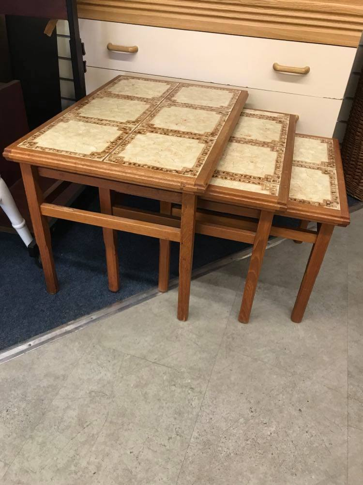 Tile top nest of tables in very good condition