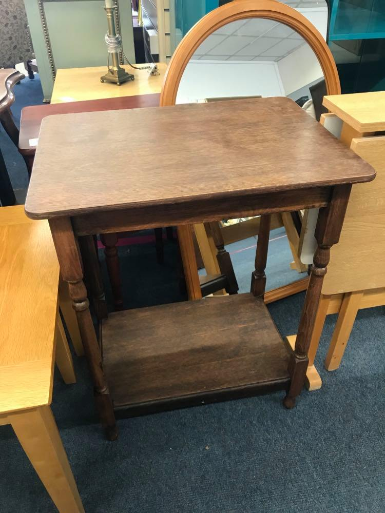 Tall oak side table in good condition